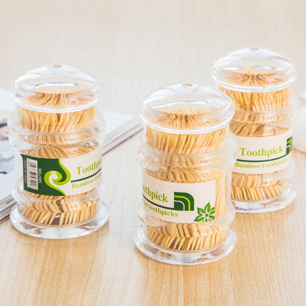 300 stücke Bambus Einweg Zahnstocher Tragbare Zahnstocher Halter Hält ihre zahnstocher sauber und einfach zu speicher Heißer Verkauf