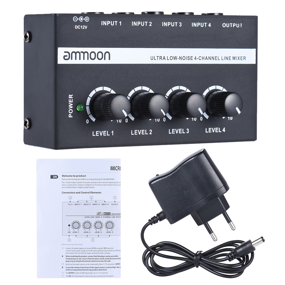 Image 5 - ammoon MX400 4 Channels Mixer Ultra compact Low Noise 4 Channels Line Mono Audio Mixer with Power Adapter-in Electric Instrument Parts & Accessories from Sports & Entertainment