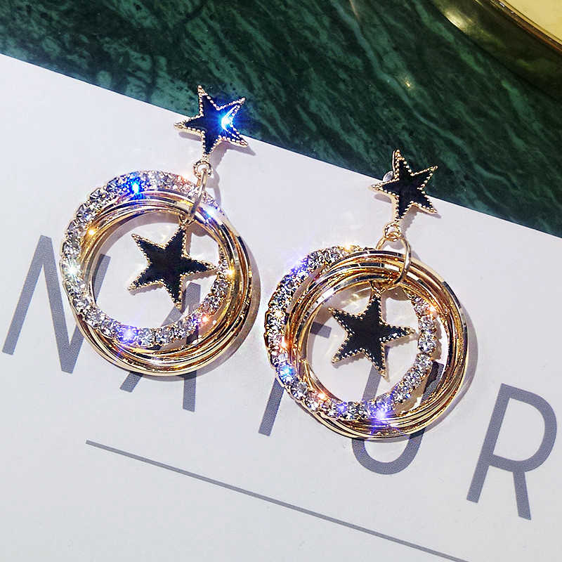 Aiffry 2019 New Korean Style Black Star drop Earrings for women fashion earring wholesale crystal Multi-layer circle E2487