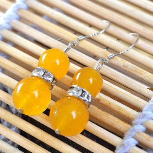 wb003 Pretty Natural Yellow Jade Beads 925 Sterling Silver Hook Earrings