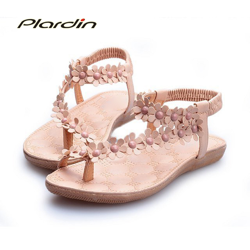 plardin 2018 Summer Bohemia women's Elastic band Flat Sandals Shoes Cross-tied Flower Ankle Strap beach sandals Women's sandals a line flower girls dresses for wedding gowns lace girl birthday party dress glitz pageant dresses