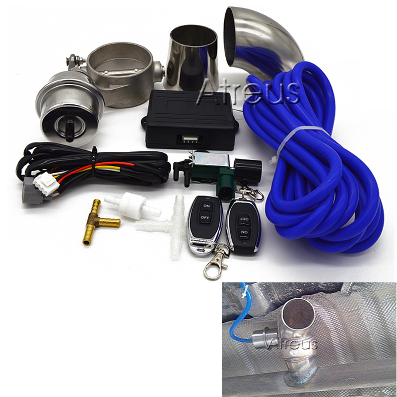 Auto Car Exhaust Control Valve Set Cutout 51mm 63mm 76mm Pipe Close Style With Vacuum Actuator With Wireless Remote Controller