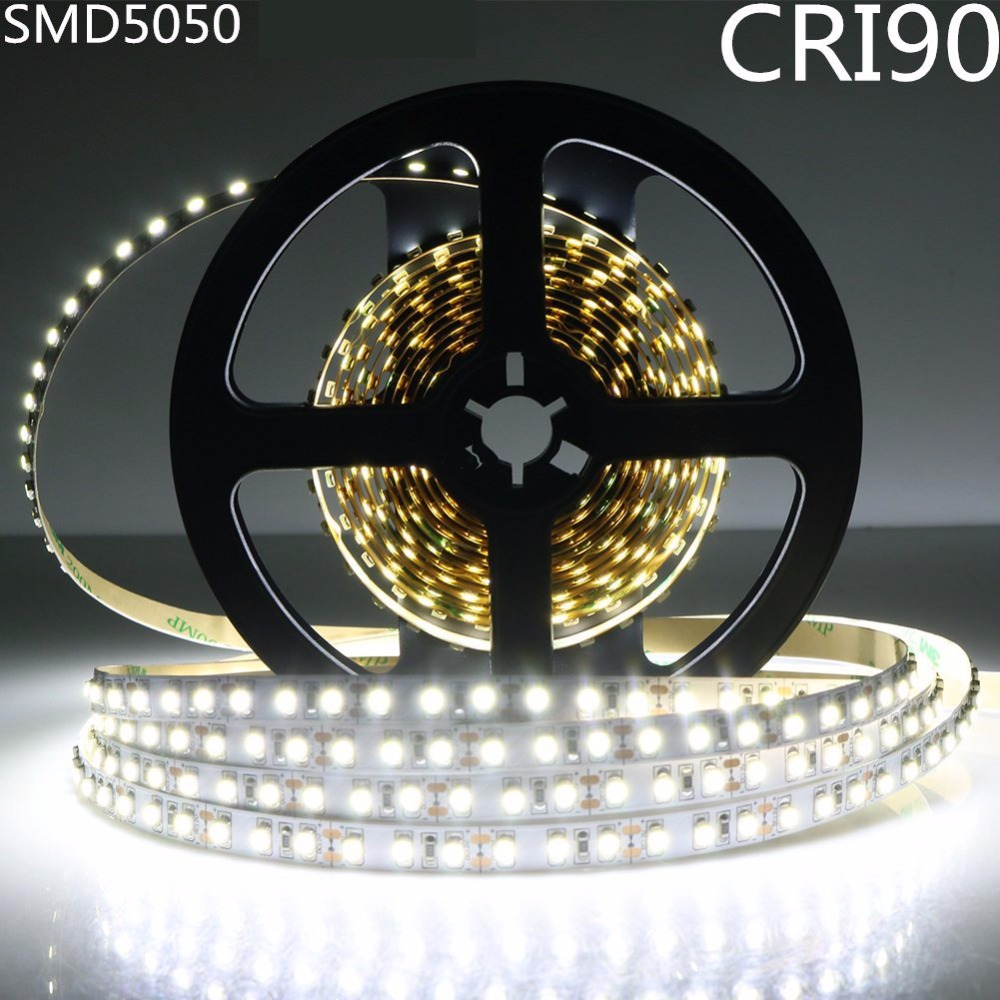 DC12V SM5050 Haute CRI 90 + LED Lumière Bande 10 MM Blanc PCB Flex Ruban Bande 30 LEDs/M Non-imperméable à l'eau Haute Couleur Indice de Rendu