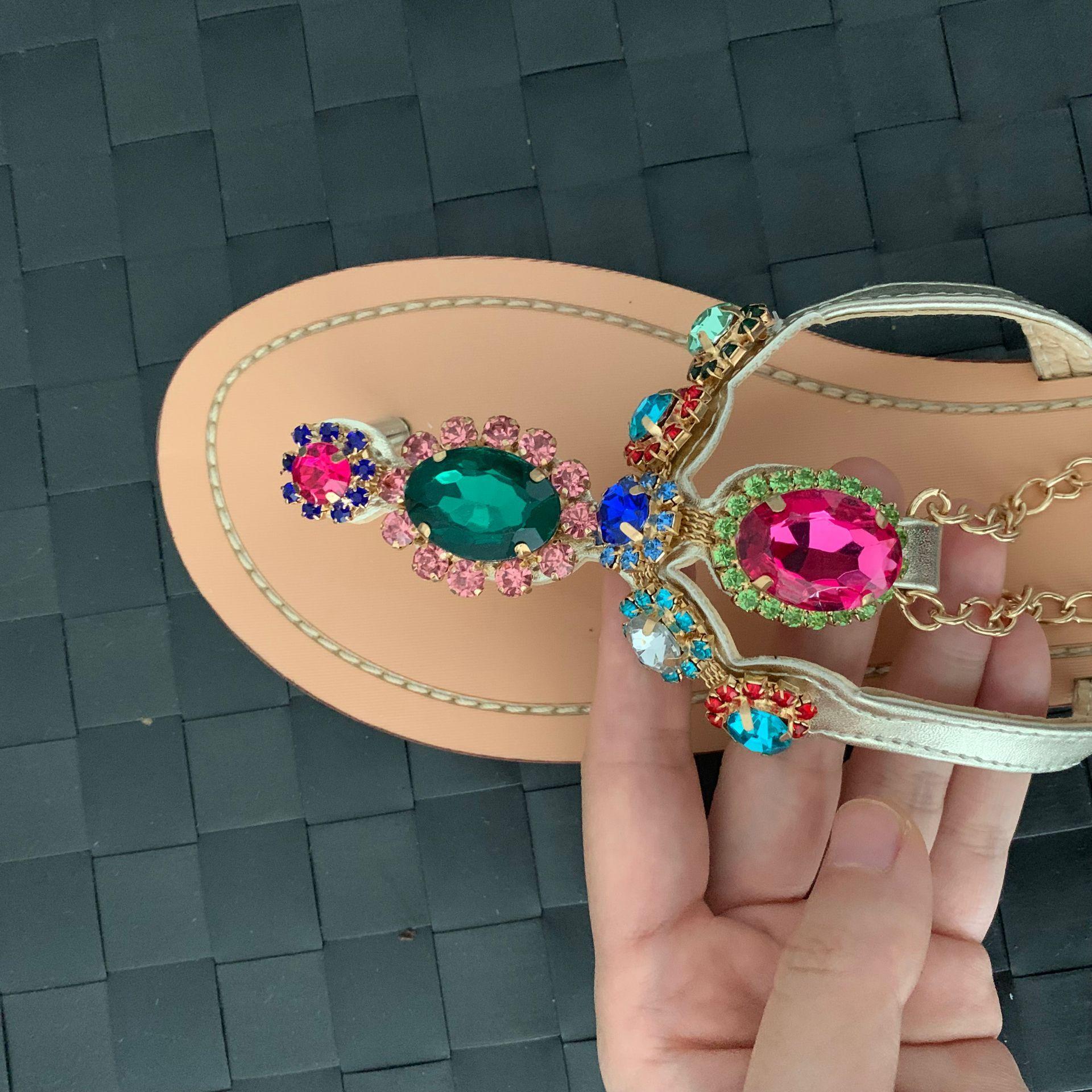 Kobiety modne sandały japonki biżuteria nabijane kamienie