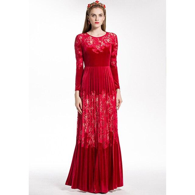 d4f2a4b6241 HIGH QUALITY New Fashion 2018 Designer Runway Maxi Dress Women s Long  Sleeve Lace Patchwork Pleated Velvet Long Dress