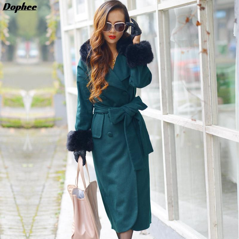 f1d4938239701 2017 Autumn And Winter Fashion Long Sleeved Large Size Women S Slim Long  Woolen Coat Green Color Trench Coats With Fur Collar-in Trench from Women s  ...