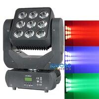 Free Shipping DMX 512 Led Disco Matrix 9x10W Led Uplights RGBW Mini Projector Movinghead Beam Strobe Professional Stage Lighting