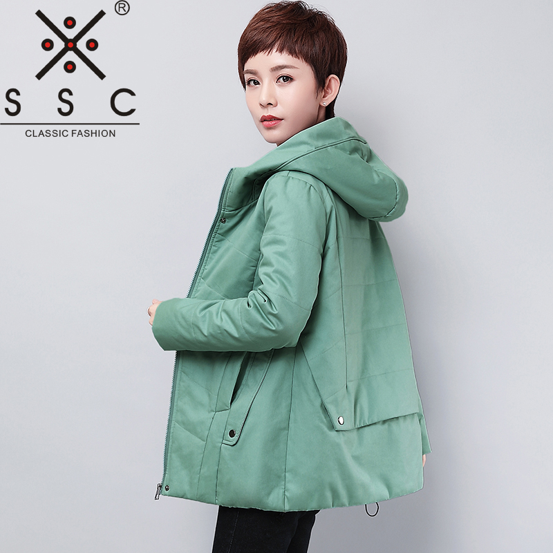 SSC  2017 Stitching Hooded Parka  Women  Long Sleeves Cotton Parka Middle Aged Plus Size  5XL Casual Winter Parkas 17603 xl 5xl winter coat women plus size middle aged mother cotton padded clothes casual hooded solid long sleeve parka thick a4263