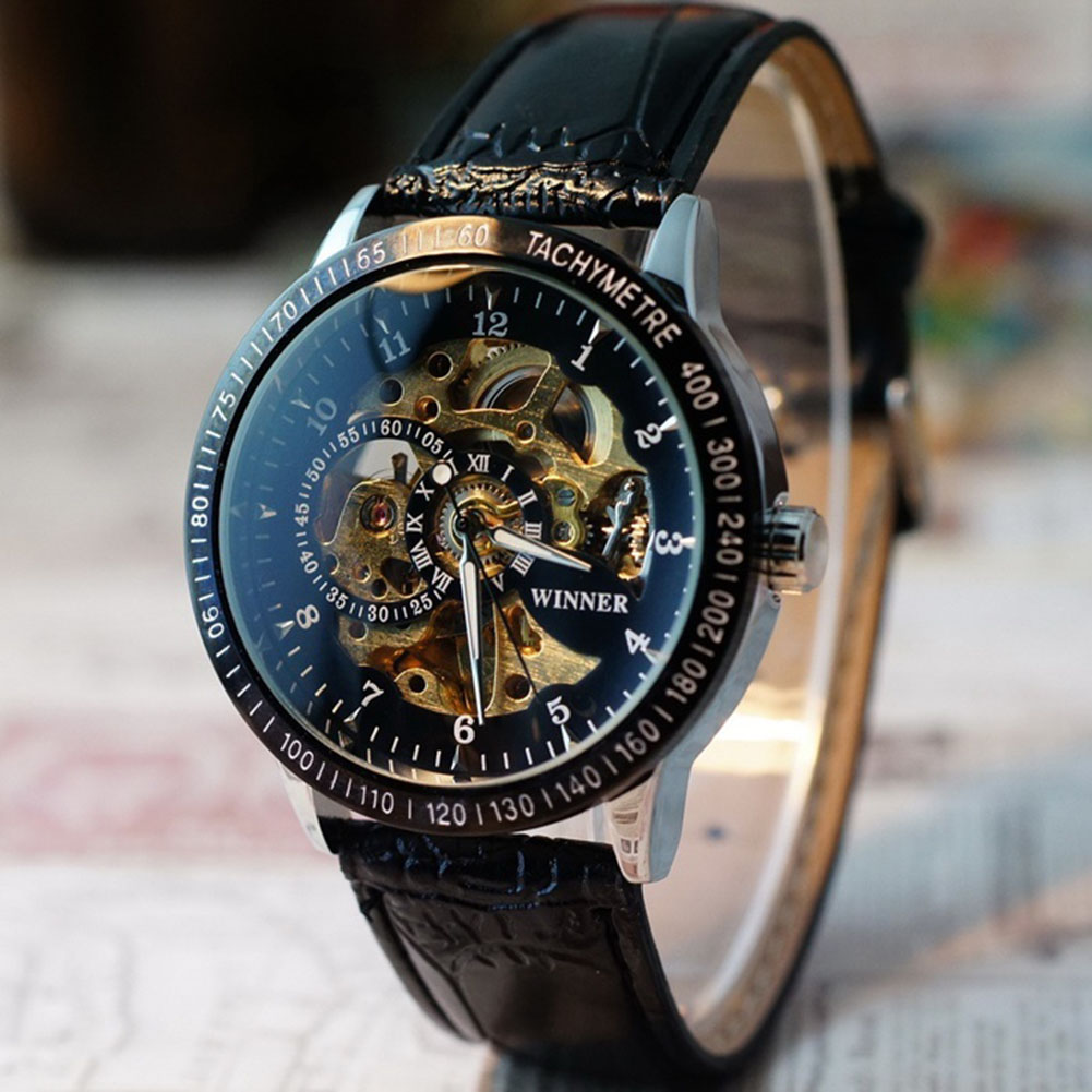 Men Business Hollow Skeleton Dial Faux Leather Automatic Mechanical Wrist Watch купить недорого в Москве
