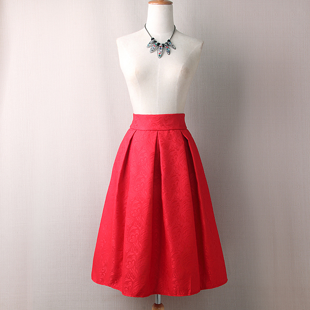 Women Skirts High Waist Pleated Midi Spring Summer  Vintage Skirt