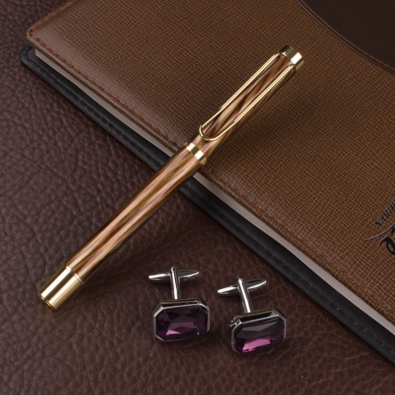 DIKA WEN luxury coffee Roller Ball Pen 0.7mm Nib black Refill novelty Metal roller ball Pen Business cufflinks for mens dikawen 891 gray gold dragon clip 0 7mm nib office stationery metal roller ball pen pencil box cufflinks for mens luxury