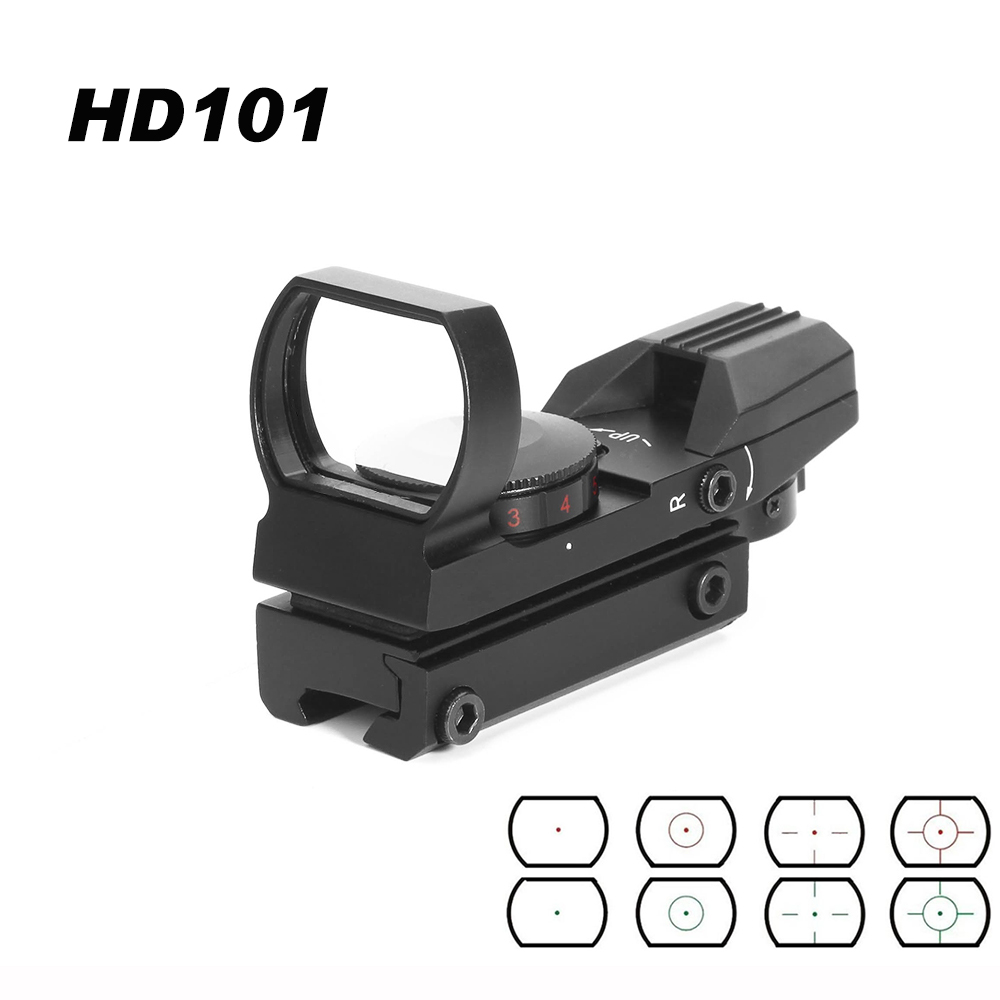 Red Dot Sight Reflex 4 Reticle Tactical Scope Hunting AirGun Accessories 20mm Rail Riflescope Hunting Optics Holographic HD101