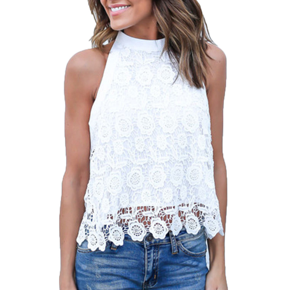Fashion Women Lace Crochet Blouses Sexy Ladies Halter Sleeveless Casual Loose Shirt Summer Womens White Tops Blusa Feminina #Ju