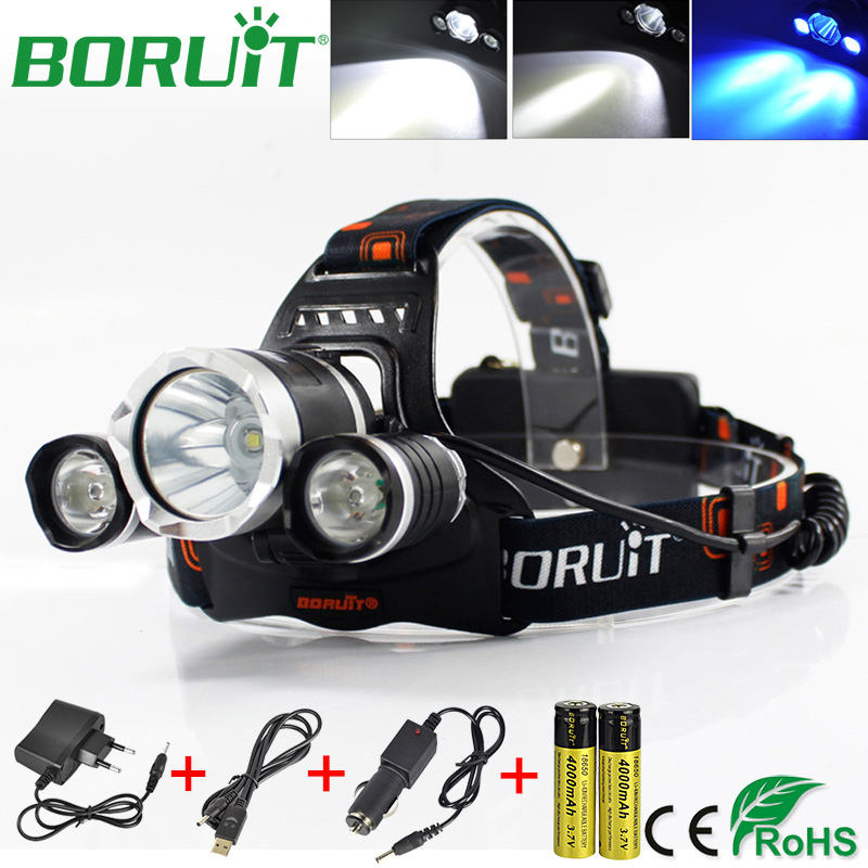 BORUiT RJ-3000 Blue LED T6 Headlamp Flashlight 3 Modes Camping Hunting Headlights Rechargeable Head Torch Light by 18650 Battery boruit ultra bright 3 xml t6 led flashlight rechargeable 3 modes flashlight portable handle light for camping hunting torch lamp