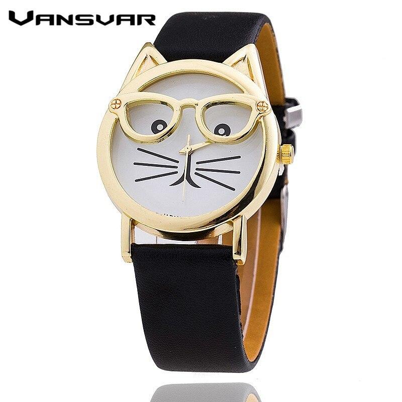 Vansvar Hot Sale Glasses Cat Watch Fashion Leather Strap Wrist Watch Women Quartz Watches Reloj Mujer Relogio Feminino 1597