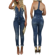 Spring Summer Women Sexy Denim Casual Bodycon Jumpsuits Mujer Backless Washed Romper New Arrivals Dark Blue Vintage Fashion