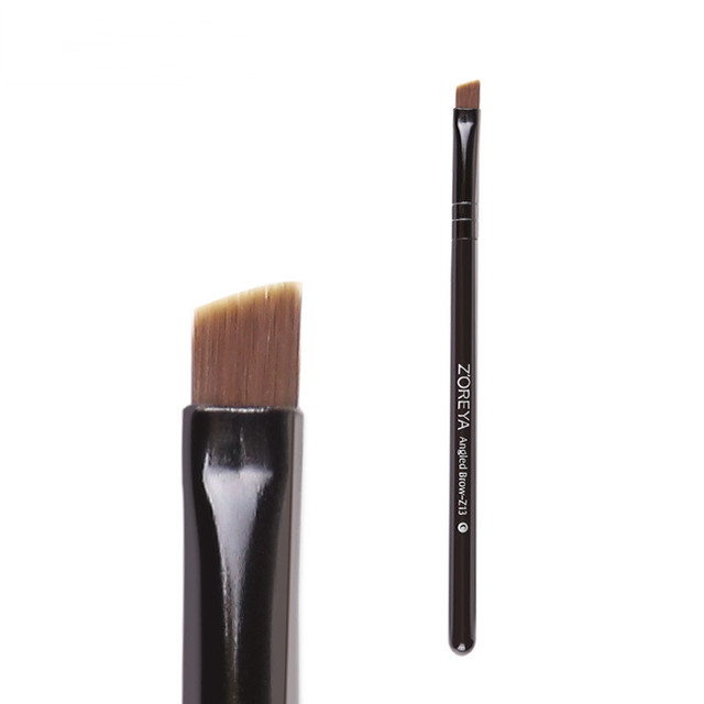 Bevel Angled Nylon Eyebrow Brush Black Wooden Handle Eyebrow Powder Applicator Makeup Brushes Tool