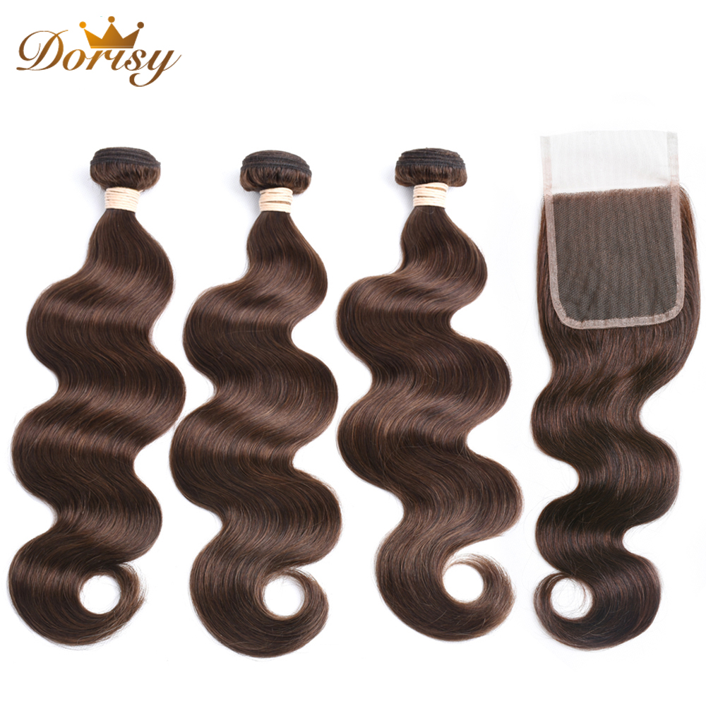 Dorisy Hair Brazilian Body Wave Human Hair 3 Bundles with Lace Closure 4 Light Brown Non
