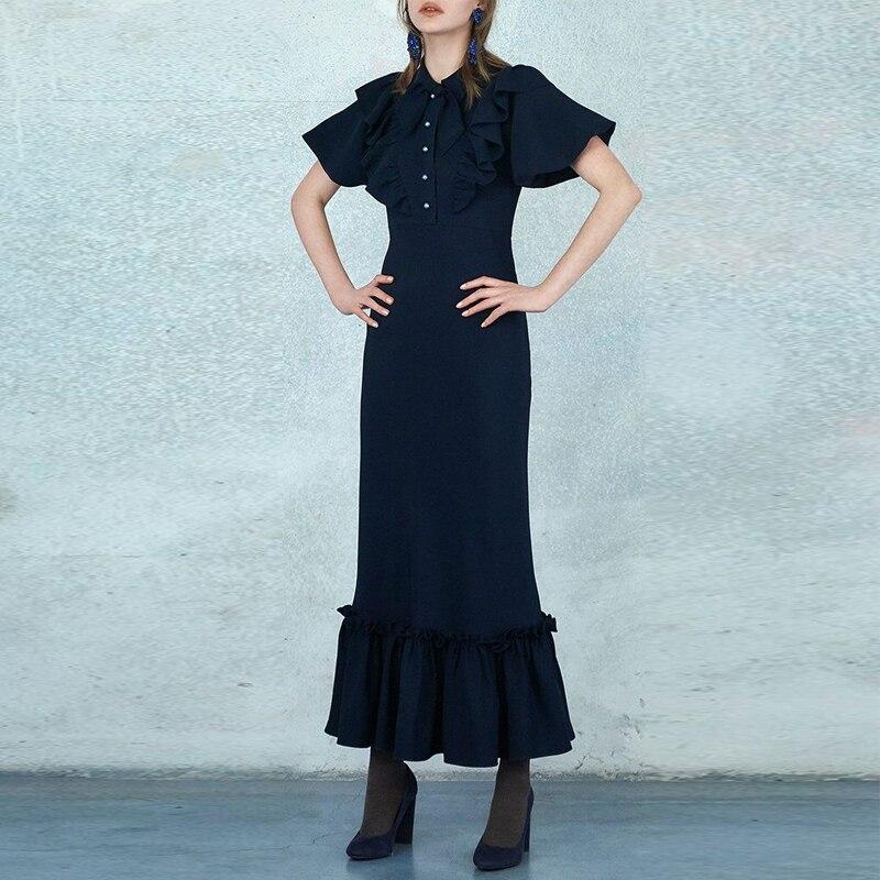 Vintage Boho Chic volants Maxi longues robes femmes 2019 été mode à manches courtes dames robes décontracté Vestidos Mujer