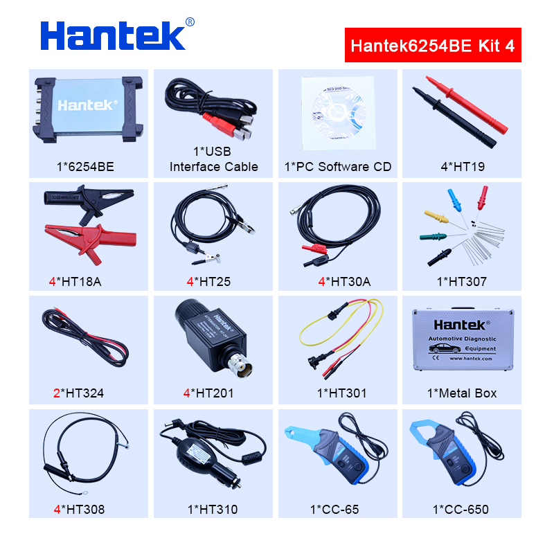 Hantek 6254BE Digital oscilloscope kit 250MHz Bandwidth Automotive Oscilloscopes Car-detector 4 CH 1Gsa/s USB PC Osciloscopio image