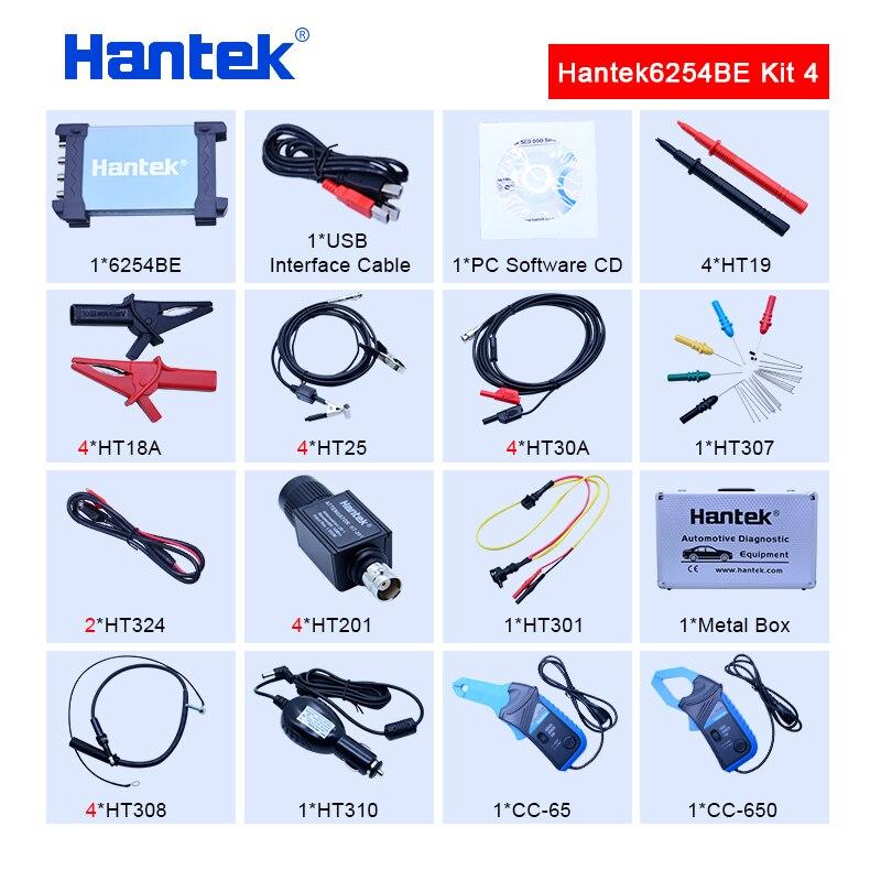 Hantek 6254BE Digital oscilloscope kit 250MHz Bandwidth Automotive Oscilloscopes Car-detector 4 CH 1Gsa/s USB PC Osciloscopio