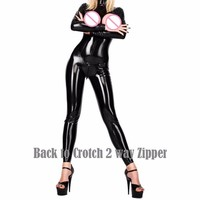 New Woman Sexy Catsuit Hot Black Bodysuit Open Bra Cup Special Design Back to Crotch Zip Exotic Underwear Vinyl Latex Jumpsuit