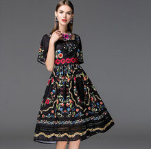 New Arrival Women's Square Neckline Short Sleeves Floral Printed Embroidery High Street Elegant Runway Dresses