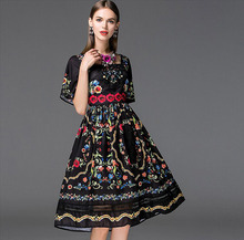 New Arrival 2016 Womens Square Neckline Short Sleeves Floral Printed Embroidery High Street Elegant Runway Dresses