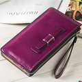 Wallet Women Famous Brand Oil Wax Leather Zipper Clutch Wallet Female Candy Color Purse Lady Multi-function Phone Bag