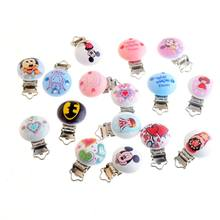 Baby Pacifier Clips Pattern Wood Metal Holders Cartoon Cute Infant Soother Clasps Accessories 4.4x2.9cm