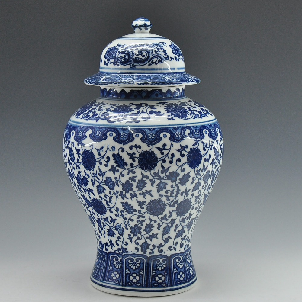 Envío Gratis chino antiguo Qing Qianlong Mark azul y blanco porcelana jarrón tarro de jengibre-in Botellas y frascos de almacenamiento from Hogar y Mascotas    1