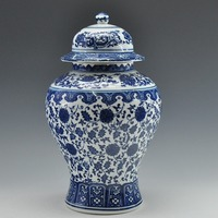 FREE SHIPPING Chinese Antique Qing Qianlong Mark Blue And White Ceramic Porcelain Vase Ginger Jar