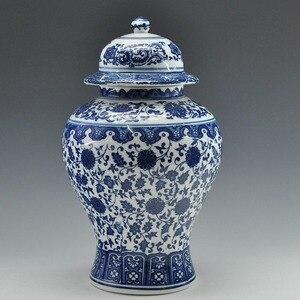 FREE SHIPPING Chinese Antique Qing Qianlong Mark Blue And White Ceramic Porcelain Vase Ginger Jar(China)