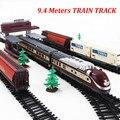 Envío gratis! largo tren de vapor 9.4 metros vía del tren eléctrico de trenes de juguete para niños camiones para los muchachos modelismo ferroviario regalo de cumpleaños