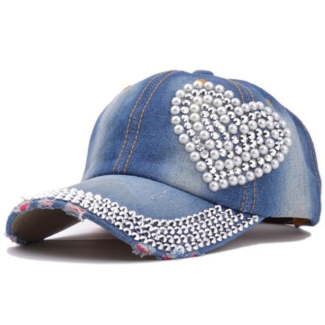 Estilo coreano mujeres Denim gorra de béisbol rhinestone corazón ...