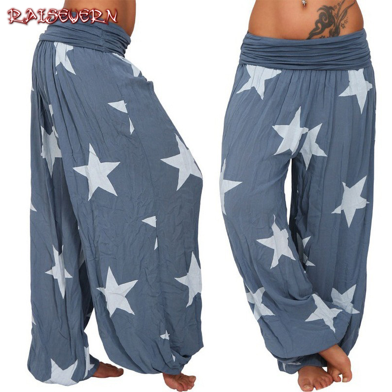 RAISEVERN Boho   Pants   For Women Printed Star Winter Autumn   Capris     Pants   Femme High Waist Trousers Ladies Casual Loose Harem   Pant