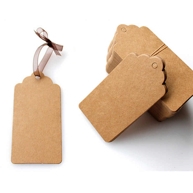 100pcs/lot Kraft Paper Wedding Blank Tag Note String Label Lace Scallop Head Label Luggage DIY Blank Price Gift Tag