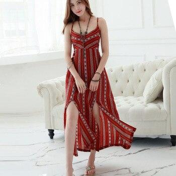 c1e89384910 2019 Новое винтажное богемное платье на бретельках с открытой спиной ...