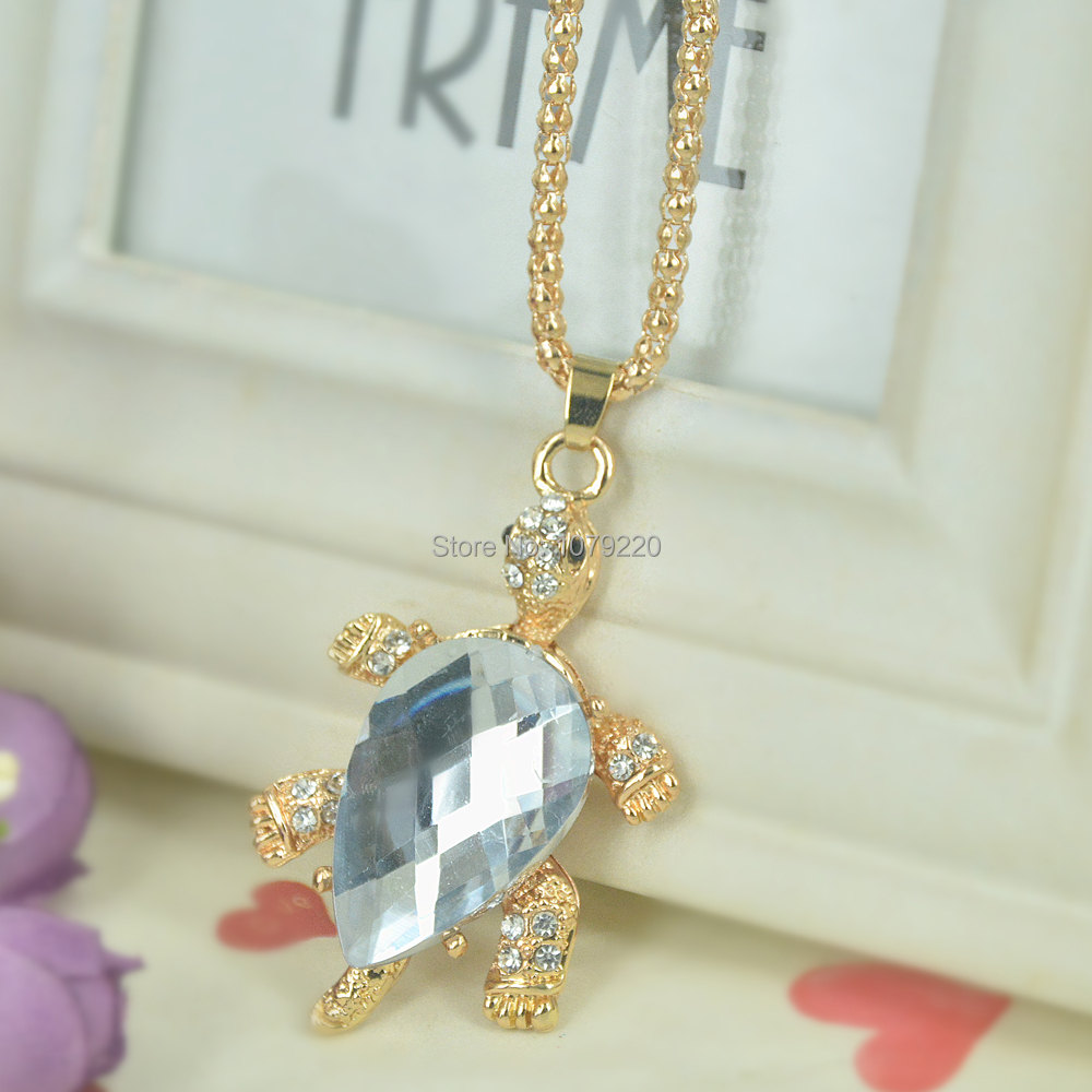 D Turtle Bead Sweater Necklace Jewelry Crystal For Women Long Necklace Pendants Rhinestone Chain Christma Valentines Gift