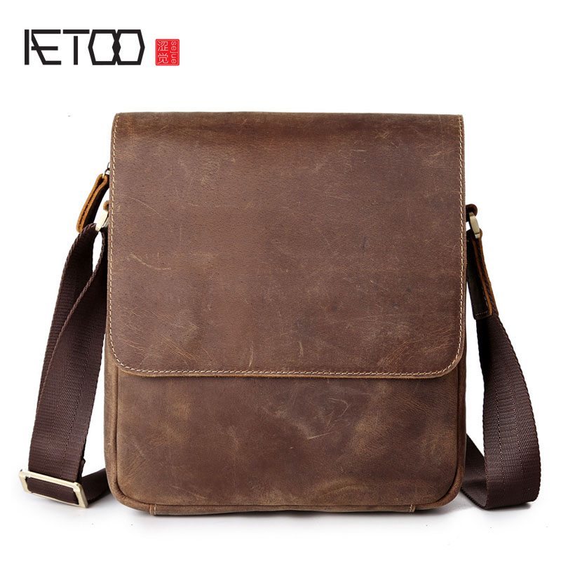 AETOO Men's leather briefcase Messenger bag men's handbag Guangzhou leather bag crazy horse skin цена