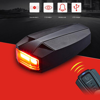 New Arrivals 4 in 1 Mountain Bike Bicycle Smart Wireless COB Rear Light Remote Control Alarm Lock Bell Taillight Cycling Parts