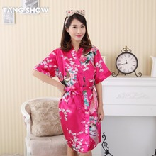 Hot Pink Chinese Women's Faux Silk Robe Gown Summer Casual Printed Home Dress Kimono Bathrobe Sleepwear Flower One Size TS012