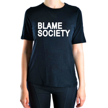 2016 Summer t shirt Women brand clothing Blame Society print crop tops harajuku pp funny pink sexy tee shirt femme black hiphop