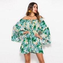 2018 Summer Floral Print Bohemian Beach Dress Off shoulder slash neck Women Sun protection Sundress short dress