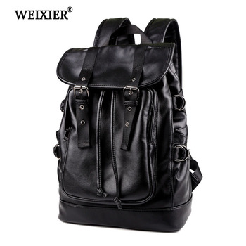 WEIXIER New Casual Personality PU Leather Drawstring Backpack Leather Men Backpack Cool Fashion Bags College Teen Backpack new college wind leisure backpack fashion ladies pu leather bags travel schoolbag drawstring backpacks