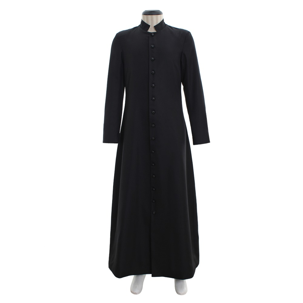Cosplaydiy Women's Style Wicca Pagan Ritual Robe Costume Clergy Cassock Roman Orthodox Long Tabard Single Breasted Button Robe