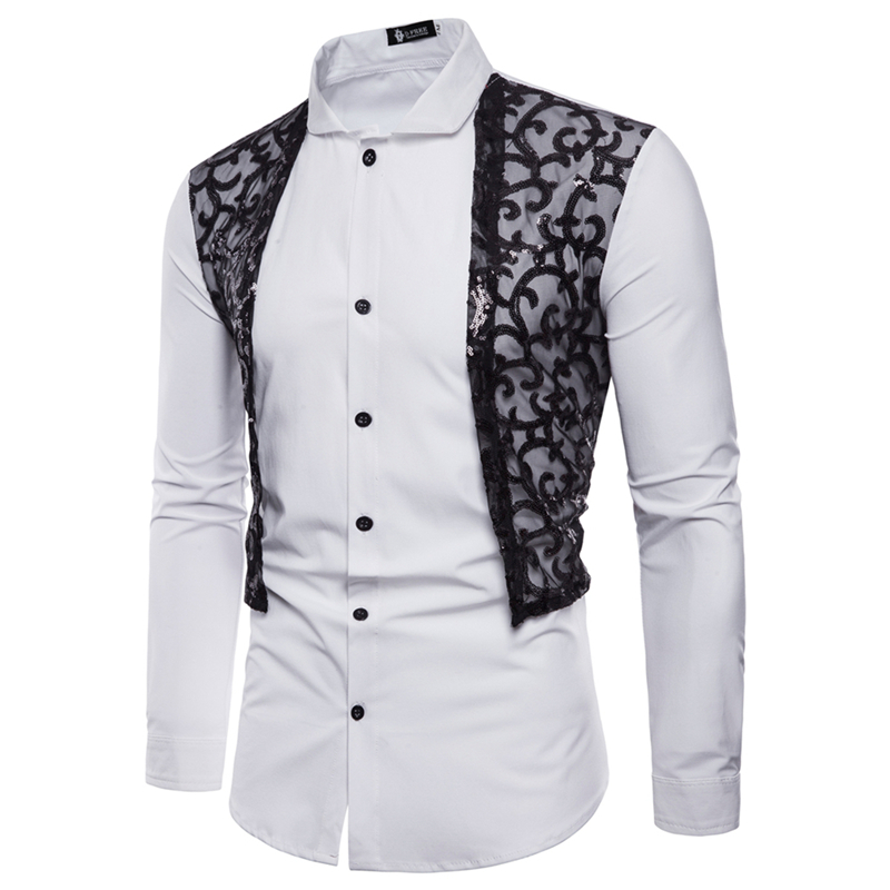 2018 new mens brand shirt fashion sequins lace design evening dress long-sleeved shirt s ...