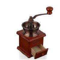 Vitage Handkoffiemolen Messing Tone Bronzen Koffiezetapparaat Keramische Burr Core Massief Houten Basis Hand Machine Keuken Accessoires