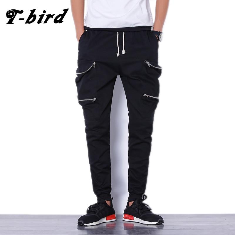 T-bird Mens Hip Hop Pant 2017 Brand Male Cargo Pants Solid Slim Tights Zipper Trousers Compression Men Jogger Black sweatpants