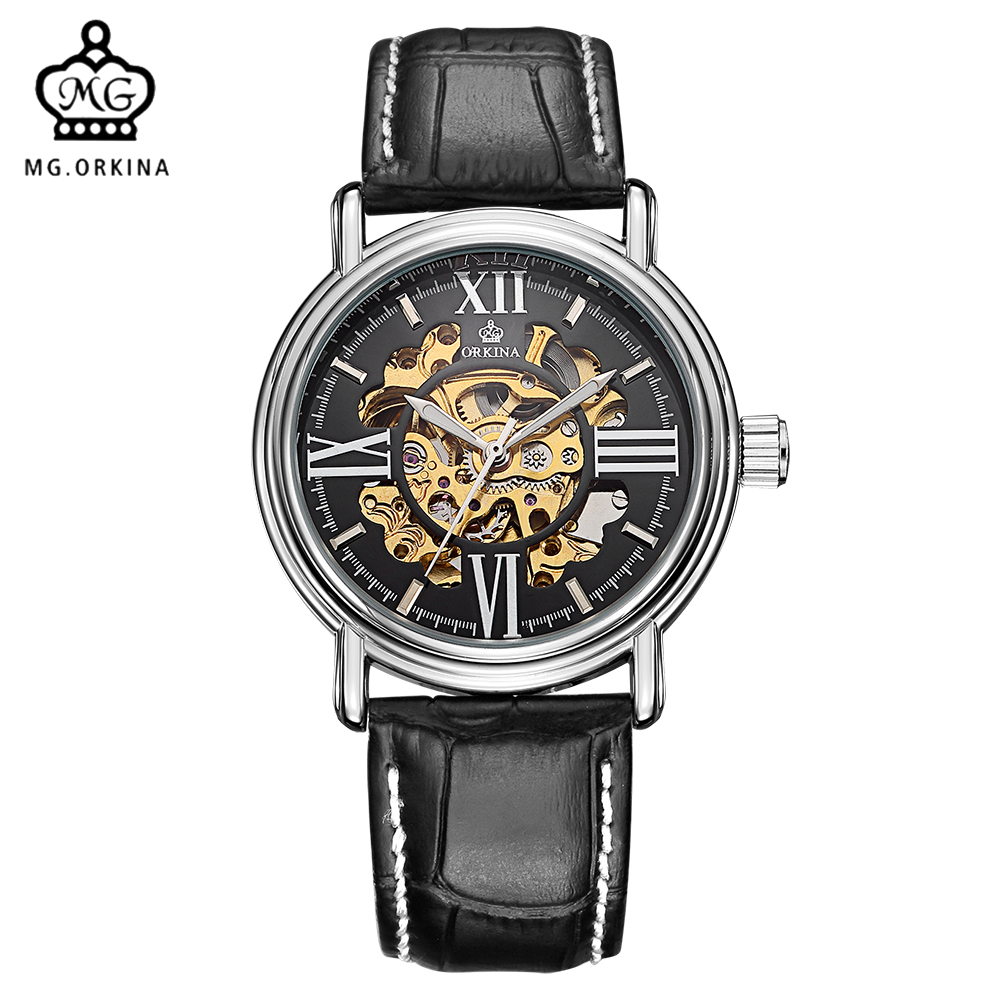 mg orkina wrist gold skeleton automatic watches